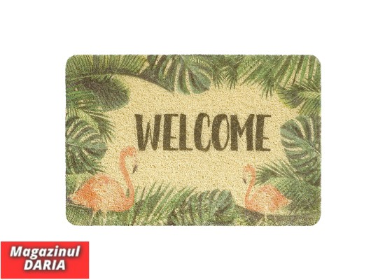 Covoraș intrare WELCOME print curly flamingo